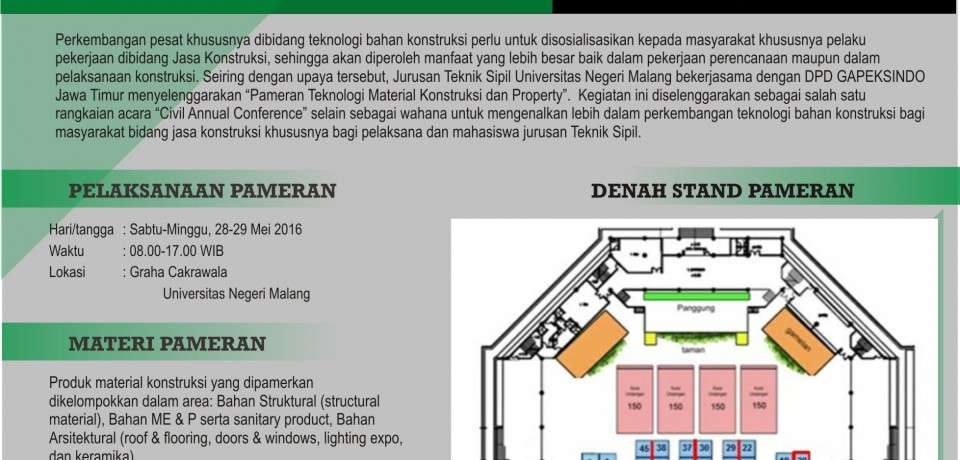 Pameran Teknologi Material & Property Teknik Sipil FT UM J.O. Gapeksindo