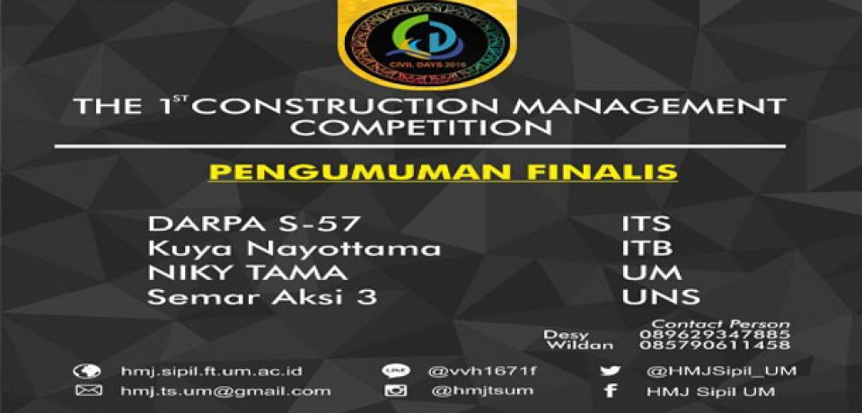 Pengumuman The Construction Management Competition